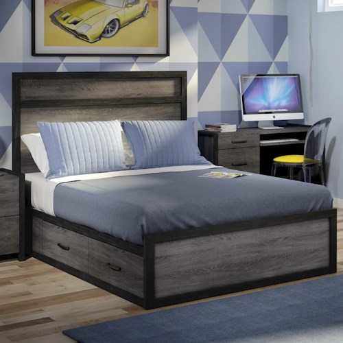 Defehr 538 Full Platform Bed with 4 Storage Drawers