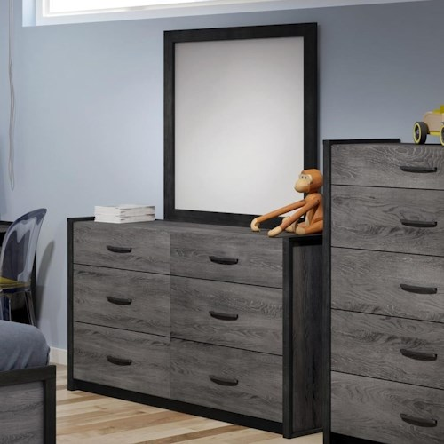 Defehr 538 6-Drawer Dresser and Mirror Set