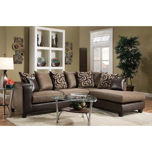 Del Sol Exclusive 4124 Contemporary Sectional Sofa with Chaise End and Loose Pillow Back
