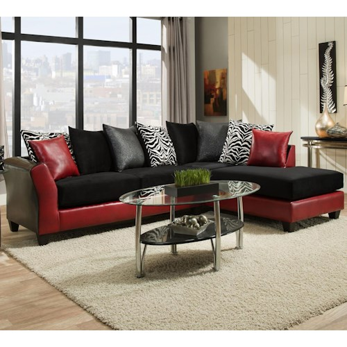 Delta Furniture Manufacturing 4174 Transitional Sectional with Chaise and Flared Arms
