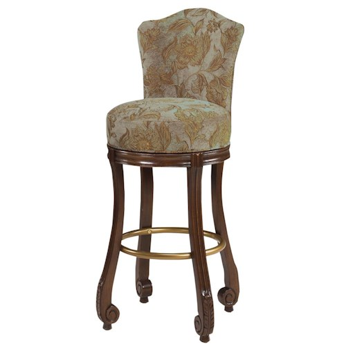 Designmaster Dining Stools Calais Carved Swivel Dining Bar Height Stool