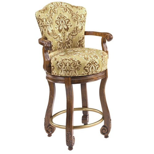 Designmaster Dining Stools Calais Carved Arm Swivel Counter Height Stool