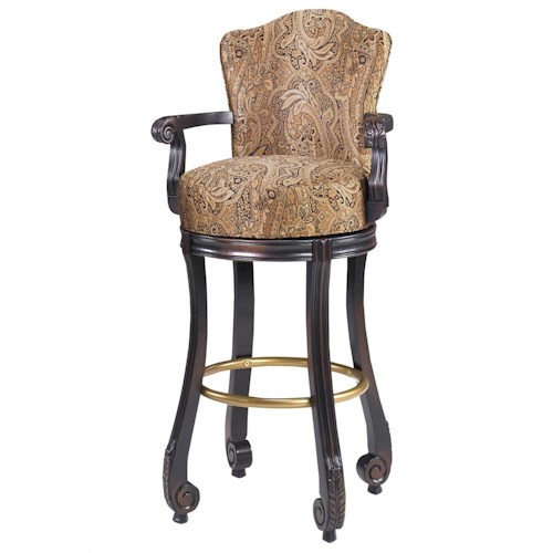 Designmaster Dining Stools Calais Carved Armed Swivel Bar Height Stool