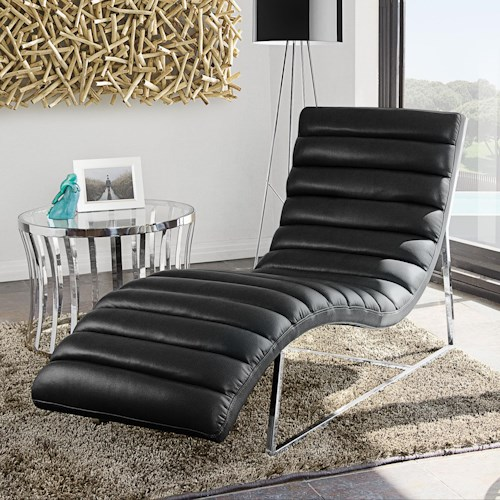Diamond Sofa Bardot BL Chaise Lounge with Stainless Steel Frame