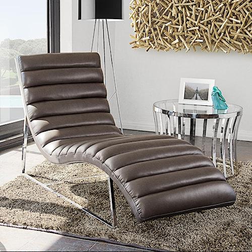 Diamond Sofa Bardot EG Chaise Lounge with Stainless Steel Frame