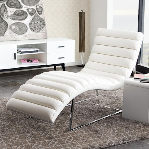 Diamond Sofa Bardot WH Chaise Lounge with Stainless Steel Frame