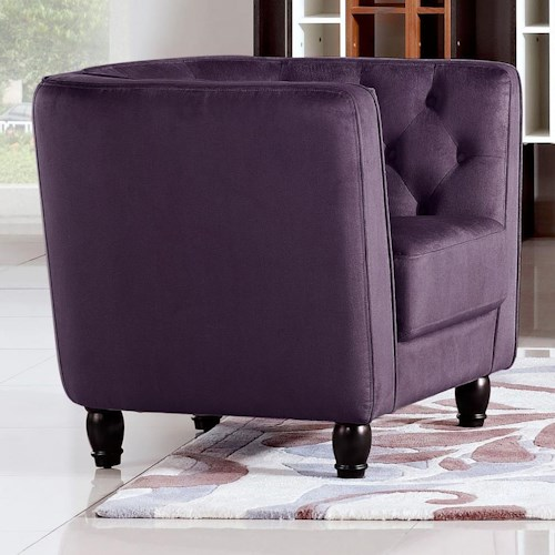 Diamond Sofa Bellini Button Tuft Fabric in Plush Purple Chair