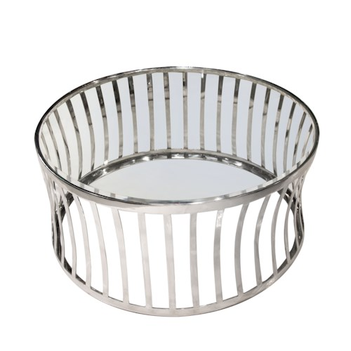 Diamond Sofa Capri Round Stainless Steel Cocktail Table with Glass Top