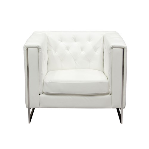 Diamond Sofa Chelsea Leatherette Chair with Metal Leg
