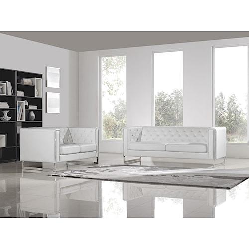 Diamond Sofa Chelsea Leatherette Sofa/Loveseat 2PC Set with Metal Leg