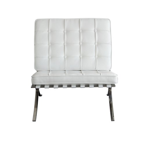 Diamond Sofa Cordoba WH Tufted Chair with Stainless Steel Frame