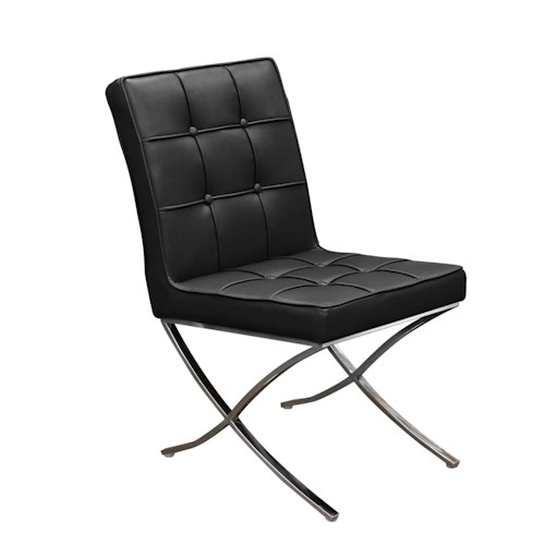Diamond Sofa Cordoba BL Tufted Dining Chair with Stainless Steel Frame
