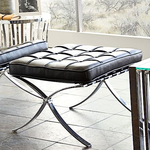 Diamond Sofa Cordoba BL Tufted Ottoman with Stainless Steel Frame