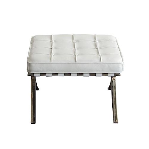 Diamond Sofa Cordoba WH Tufted Ottoman with Stainless Steel Frame