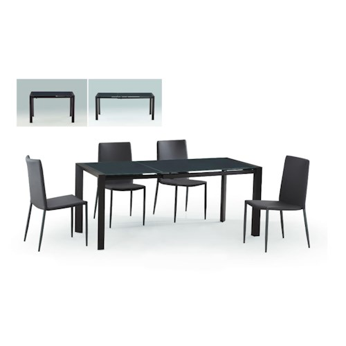 Diamond Sofa Urban Dining  Carbon Glass Top Extension Dining Table with Metal Frame
