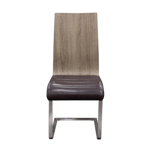 Diamond Sofa Urban Dining  2-Pack Spring Back Dining Chairs in Ash Back with Chocolate Ribbed Seat Cushion