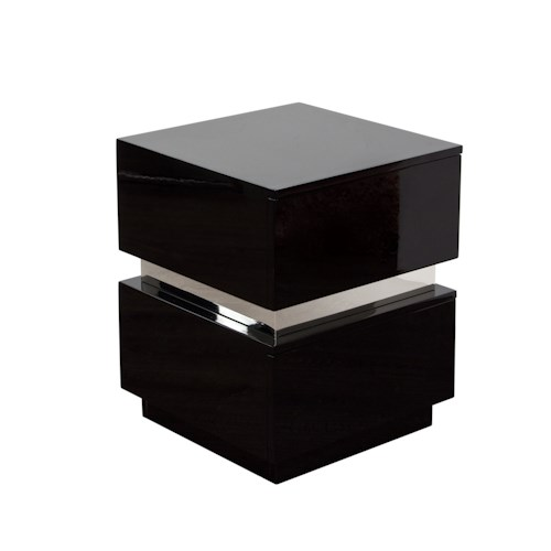 Diamond Sofa Elle Two Drawer Accent Table in High Gloss
