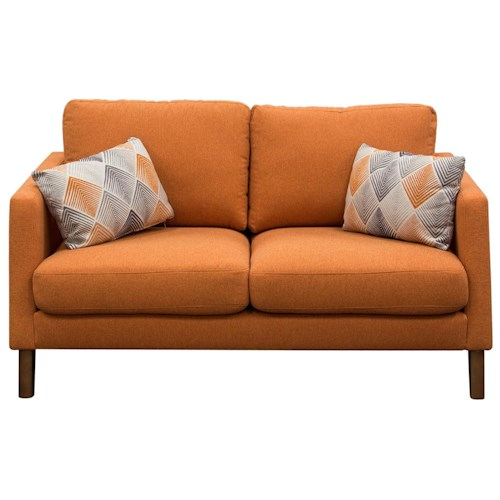 Diamond Sofa Keppel Solid Fabric Loveseat with 2 Patterned Accent Pillows