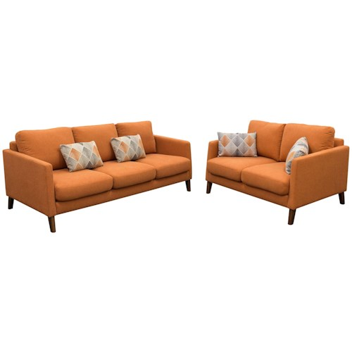 Diamond Sofa Keppel Solid Fabric Sofa & Loveseat 2PC Set in Hawaiian Sunset Fabric