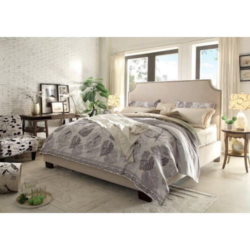 Diamond Sofa Kingston Eastern King Upholstered Bed with Nail Head Accent