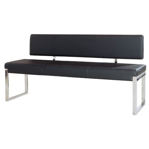 Diamond Sofa Knox BL Bench with Back & Stainless Steel Frame