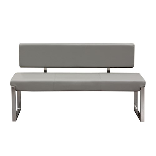 Diamond Sofa Knox GR Bench with Back & Stainless Steel Frame