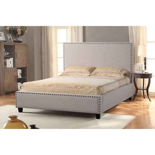 Diamond Sofa La Jolla California King Upholstered Bed with Nail Head Accent