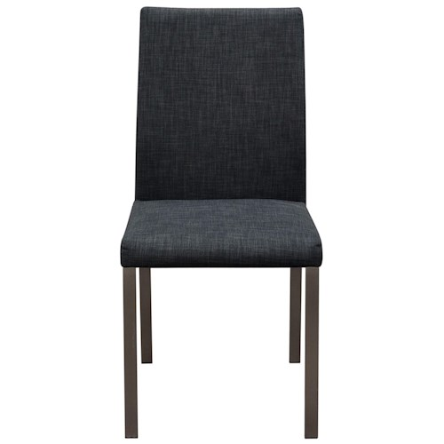 Diamond Sofa Metro 2-Pack Grey Fabric Dining Chairs with Brushed Stainless Steel Legs & Handle