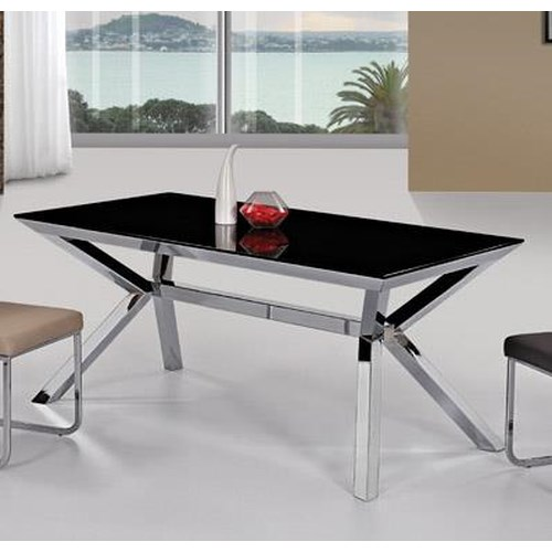 Diamond Sofa Metro Rectangular Black Glass Dining Table with Nickel Finish Base