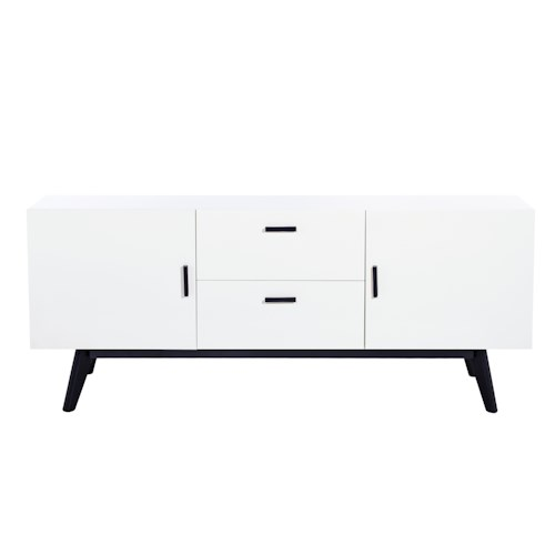 Diamond Sofa Mode White Sideboard with Two Drawers and Two Doors