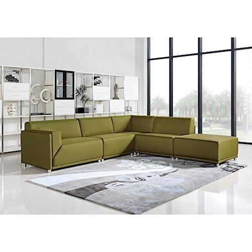 Diamond Sofa Moderna Left Facing Five Piece Modular Contemporary Sectional Sofa