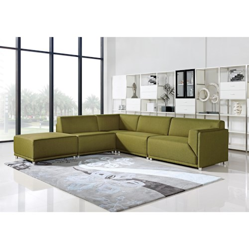 Diamond Sofa Moderna Right Facing Five Piece Modular Contemporary Sectional Sofa
