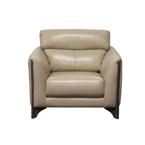 Diamond Sofa Monaco Chair in Blended Leather with Ash Wood Trim and Leg