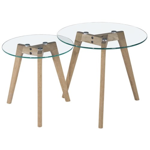 Diamond Sofa Monarch Round Two Piece Nesting Tables with Oak Legs Glass Top