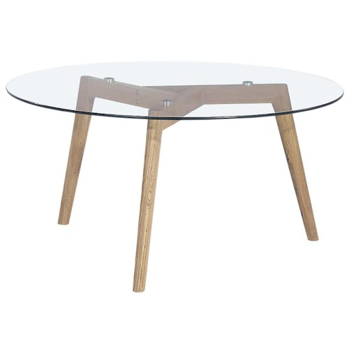 Diamond Sofa Monarch Round Cocktail Table with Oak Legs & Glass Top
