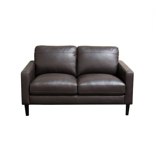 Diamond Sofa Omega Full Leather Loveseat with Dark Espresso Wood Legs
