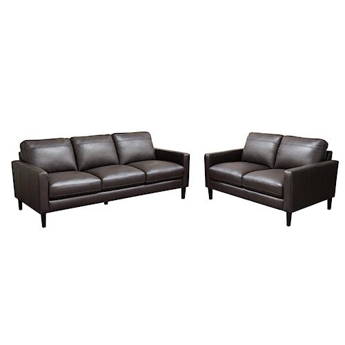Diamond Sofa Omega Full Leather Sofa & Loveseat 2-Piece Set with Dark Espresso Wood Leg
