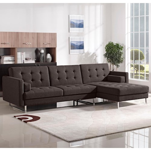 Diamond Sofa Opus Convertible Tufted RF Chaise Sectional with Chrome Legs