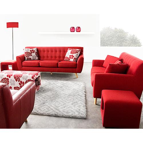 Diamond Sofa Scarlett Rouge Red Solid Fabric Sofa & Loveseat 2-Piece Set with Retro Wood Legs