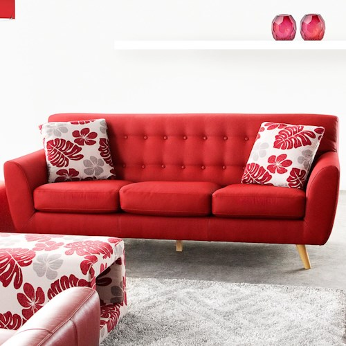 Diamond Sofa Scarlett Solid Fabric Sofa with Retro Wood Legs