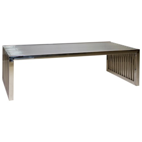 Diamond Sofa Soho Rectangular Stainless Steel Cocktail Table with Glass Top