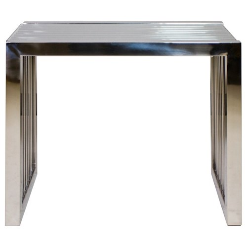 Diamond Sofa Soho Rectangular Stainless Steel End Table with Glass Top