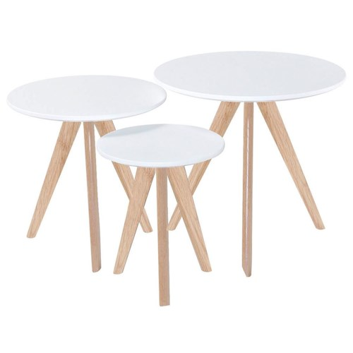 Diamond Sofa Sprout 3 Piece Nesting Table Set with White Tops & Oak Legs