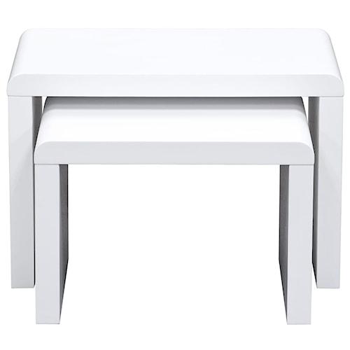 Diamond Sofa Stanza 2 Piece Nesting Table Set in Matte White