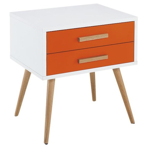 Diamond Sofa Tangent 2-Drawer Accent Table with Oak Legs