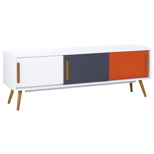 Diamond Sofa Tangent Tri-Color 3-Door Entertainment Cabinet with Oak Legs