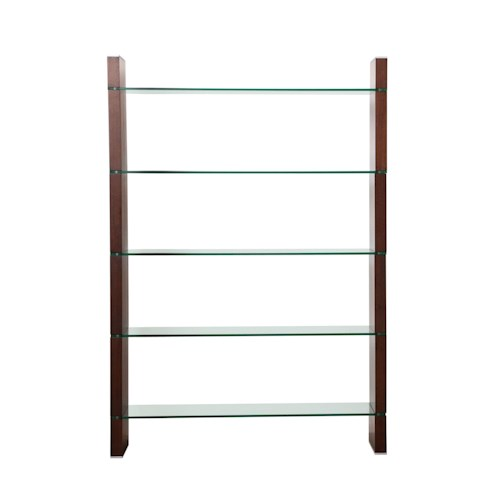 Diamond Sofa Home Accents 5-Shelf Glass Bookcase and Room Divider