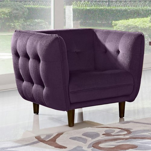 Diamond Sofa Venice Button Tuft Fabric Chair with Tufted Seats, Backs, and Outside Panels