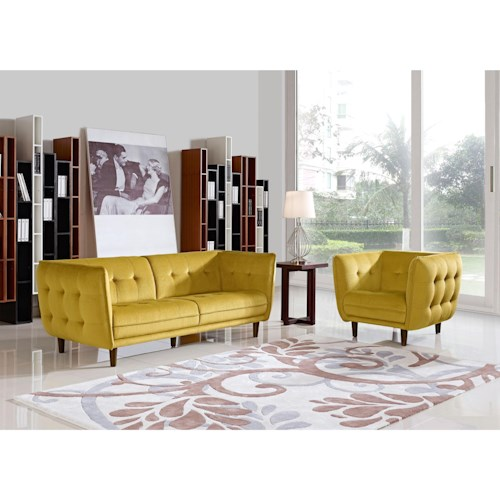 Diamond Sofa Venice Button Tuft Fabric Sofa & Chair 2-Piece Set with Espresso Finished Tapered Feet