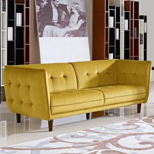 Diamond Sofa Venice Button Tuft Fabric Sofa with Tufted Seats, Backs, and Outside Panels